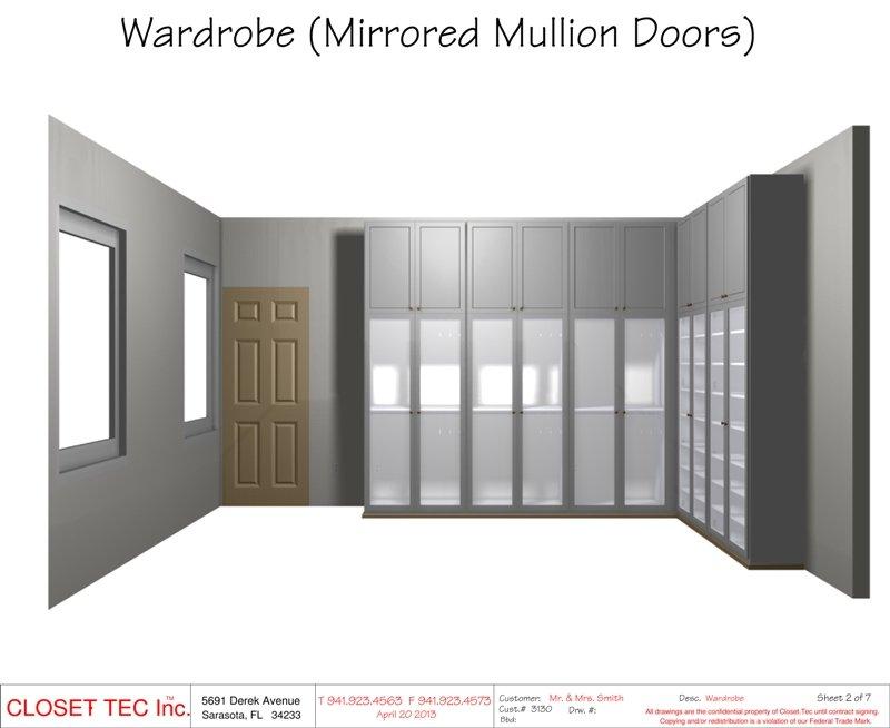 Wardrobe Mirrored Mullion Doors Cad Design Closet Tec Inc Derek Avenue  Sarasota Fl